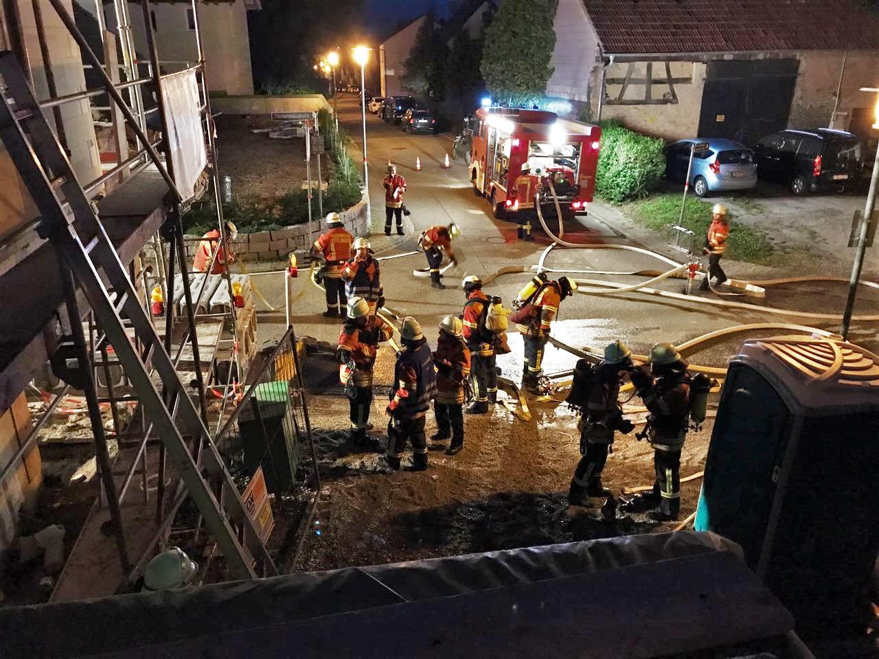 Feuerwehrübung im zukünftigen Dorfladen in Oberweier